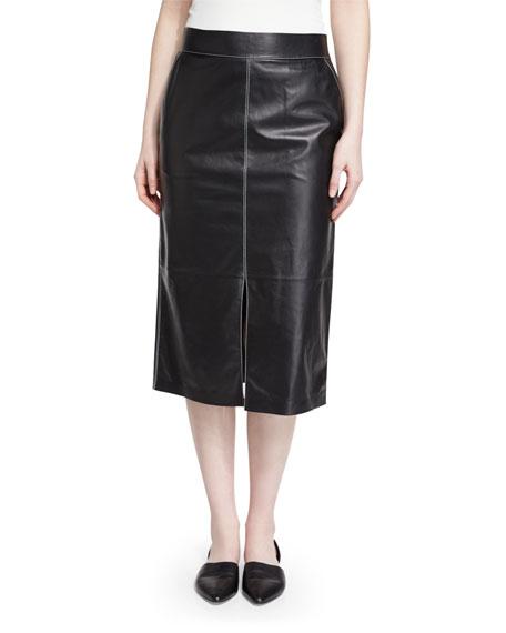 Adelina Lambskin Pencil Skirt, Black