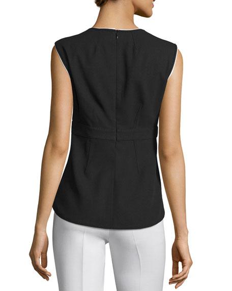 Sleeveless Contrast-Trim Peplum Top, Black