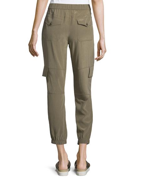 Theory Hamtana Summer Silk Cargo Pants, Moss