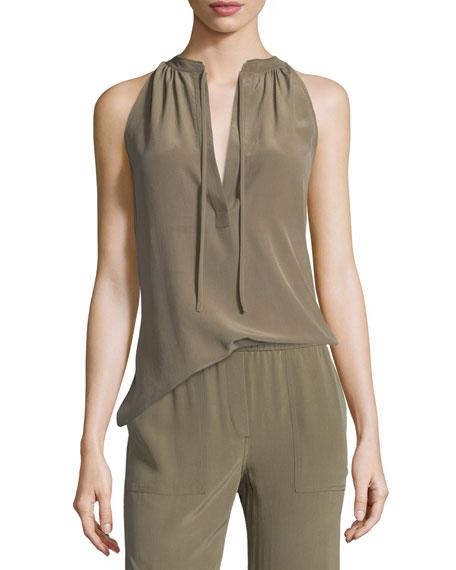 Theory Livilla Summer Silk Sleeveless Top, Moss