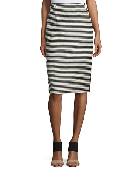 Lafayette 148 New York Striped Pencil Skirt W/Slit,