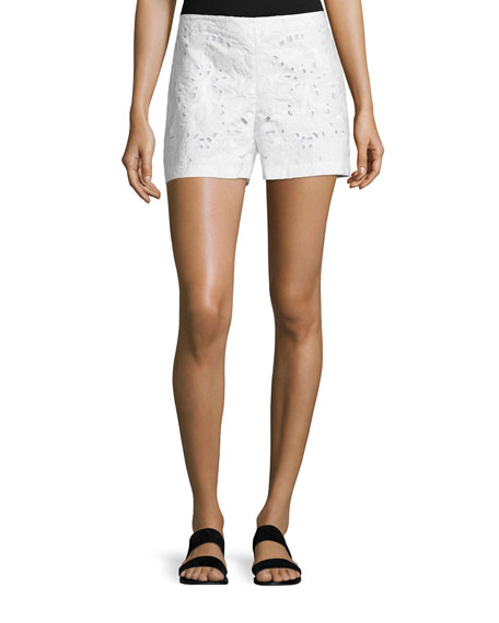 Theory Micro E Embroidered Linen/Cotton Shorts