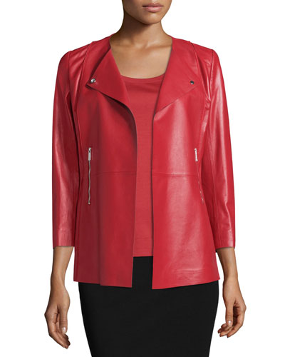 Dayle Open-Front Leather Jacket, Red Rock