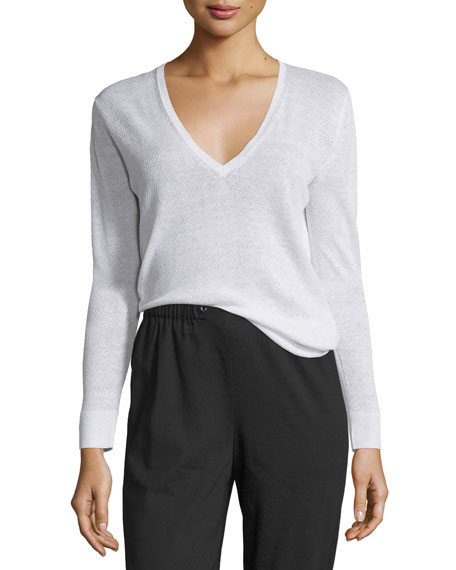 Theory Adrianna Sag Harbor Printed V-Neck Sweater