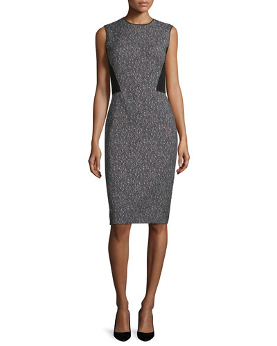 Marilyn Speckled Sleeveless Dress, Black/Multi