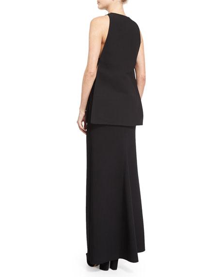 Front-Slit Maxi Skirt, Black