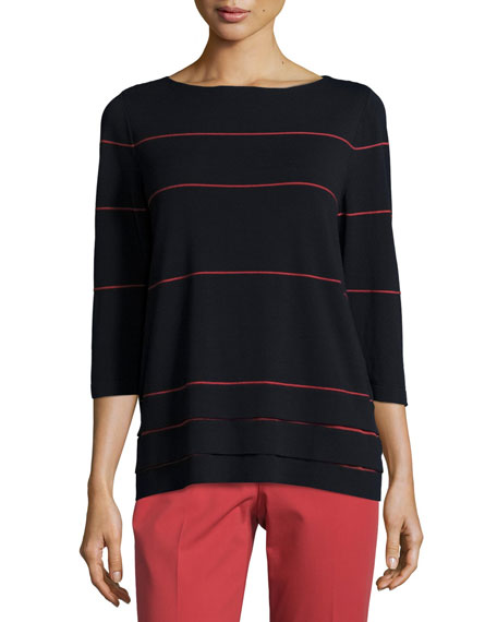 Lafayette 148 New York 3/4-Sleeve Striped Layered-Hem Sweater,