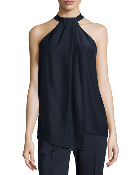 Madison Sleeveless Asymmetric Pleated Silk Blouse, Ink