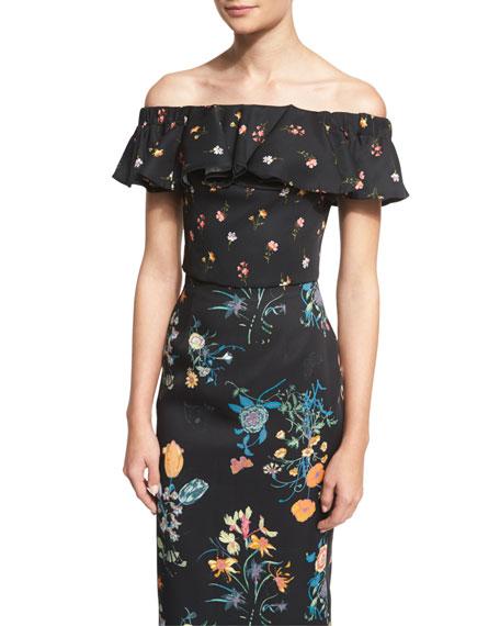Rebecca TaylorOff-The-Shoulder Floral-Print Top, Black/Combo