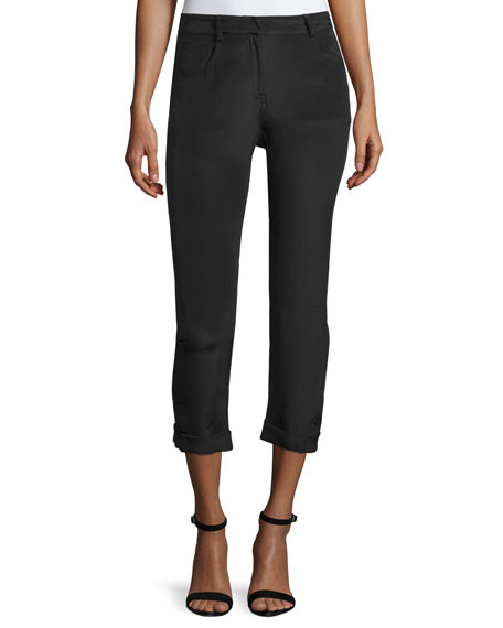 CoSTUME NATIONAL Mid-Rise Rolled-Cuff Cropped Pants, Black
