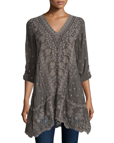 Yen Long-Sleeve Embroidered Tunic, Iron Steel