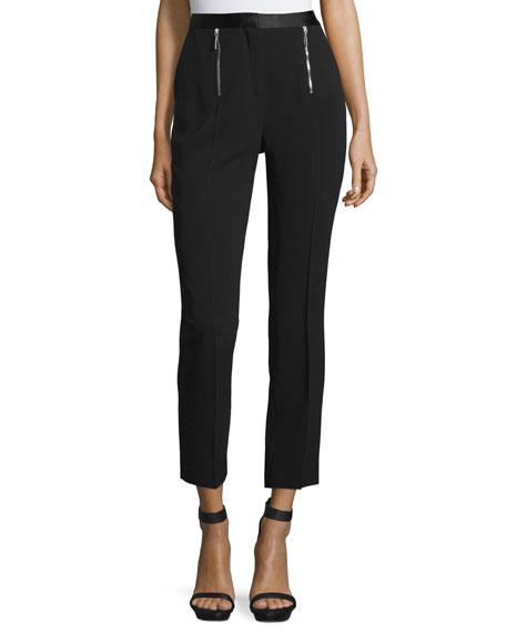 CoSTUME NATIONAL Zip-Front Slim-Leg Cropped Pants, Black