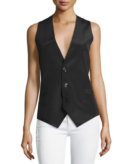 CoSTUME NATIONAL Sleeveless Button-Front Waistcoat, Black