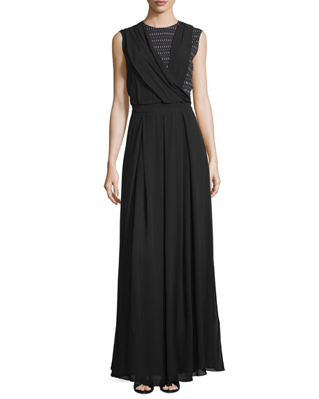 Costume National Sleeveless Draped-Bodice Maxi Dress, Black