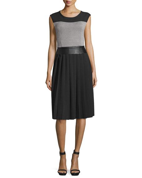 Costume National Sleeveless Round-Neck Colorblock Dress, Black