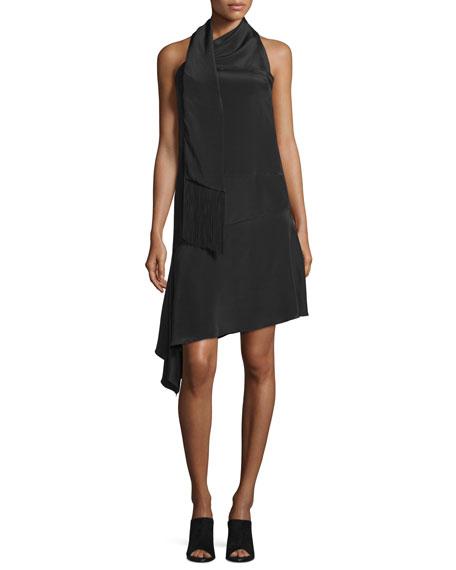 CoSTUME NATIONAL Halter-Neck Asymmetric-Hem Dress, Black