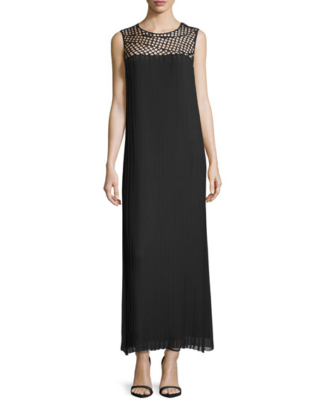 Costume National Macrame-Yoke Column Maxi Dress, Black
