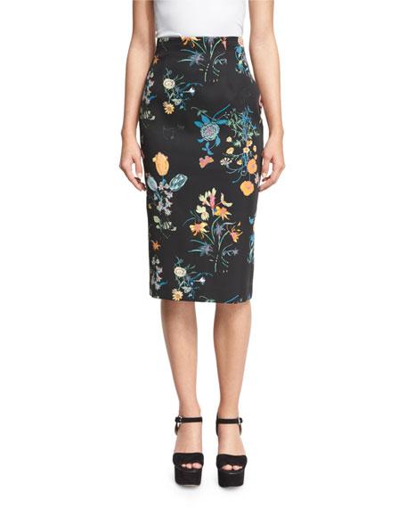 Rebecca Taylor Meadow High-Waist Pencil Skirt, Black/Combo