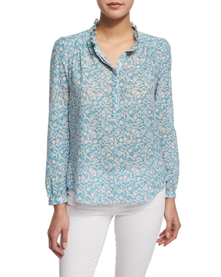 Rebecca Taylor Button-Front Floral-Print Semisheer Blouse,