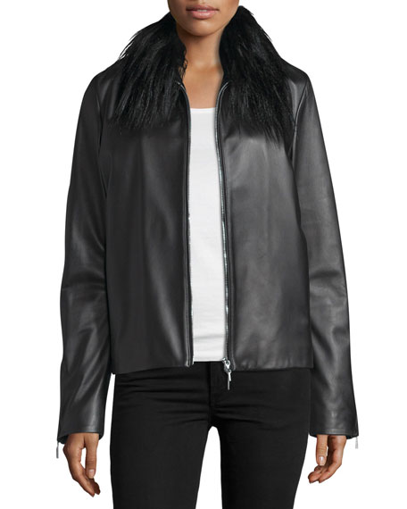 CoSTUME NATIONAL Fur-Collar Zip-Front Leather Jacket, Black