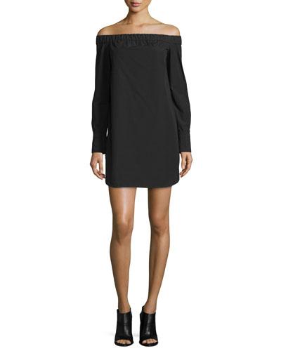 Kacy Off-the-Shoulder Poplin Mini Dress, Black
