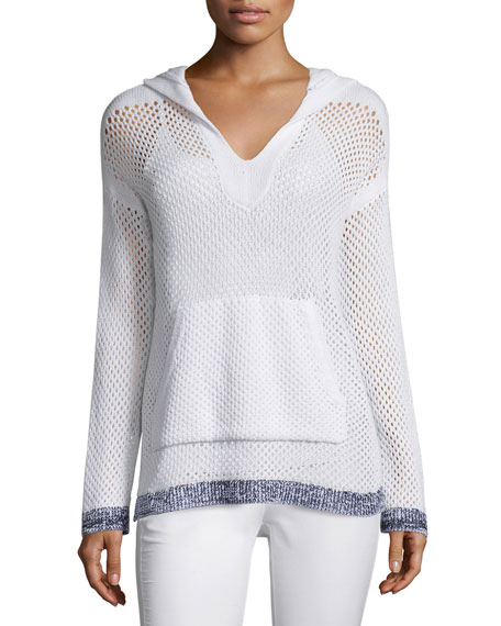 Rag & Bone Thea Mesh Hooded Sweatshirt, White