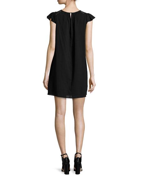 Ruffle-Sleeve Crochet-Inset Shift Dress, Black