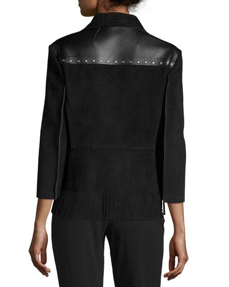 3/4-Sleeve Suede Jacket W/Fringe Hem, Black