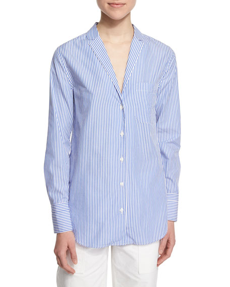 Rag & BoneRyder Long-Sleeve Striped Poplin Shirt, Blue/White