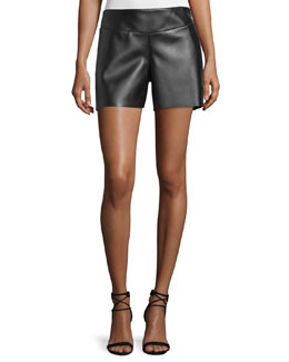 Mid-Rise Leather Shorts, Black