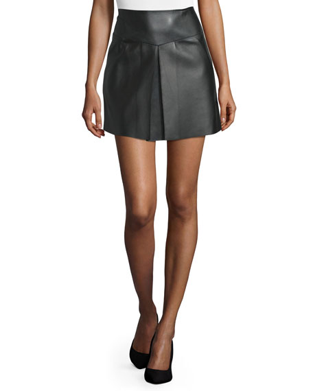 High-Waist Leather Mini Skirt, Black