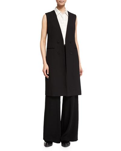 Aggie Contour Open-Front Wool Vest