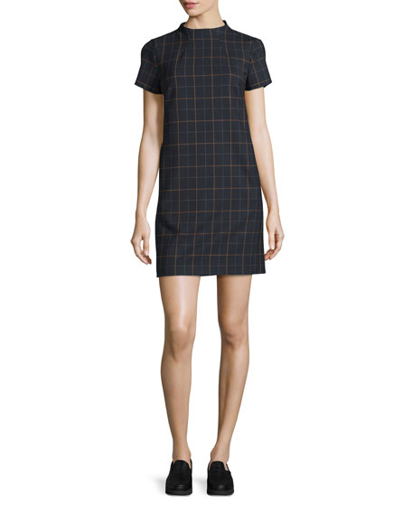 Theory Jasneah Tile-Check Short-Sleeve Dress