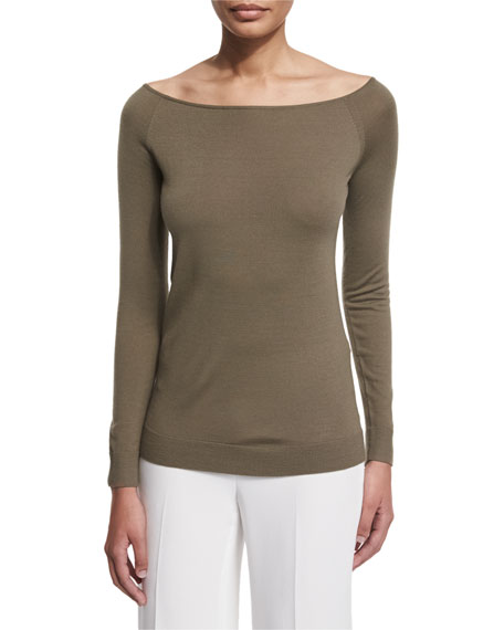 TheoryEbliss Refine Wool Wide-Neck Sweater