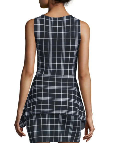 Kalora Lustrate Plaid Peplum Top
