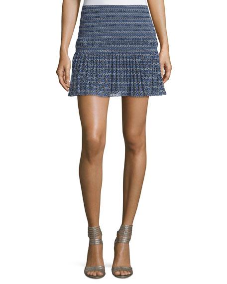 Diane von Furstenberg Tayte Square-Print Mini Skirt