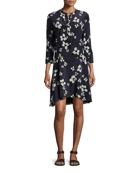 Theory Carstan Autumn Printed Silk Dress