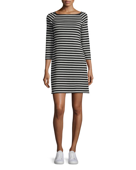 Theory Lesnoy Deluxe Striped Quarter-Sleeve Dress