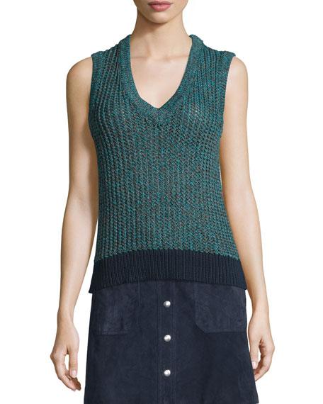 rag & bone/JEAN Carmen Colorblock Cable-Knit Tank, Teal