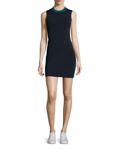Lucine Sleeveless Two-Tone Sheath Dress, Teal/Navy
