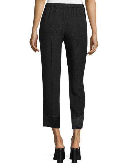 Slim-Leg Cropped Pants, Black