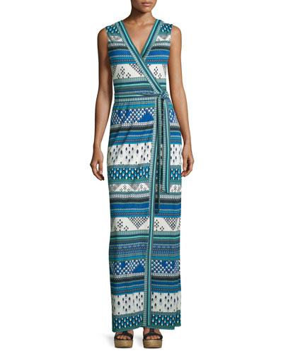 Yahzi Chevron Bands Wrap Maxi Dress, Blue
