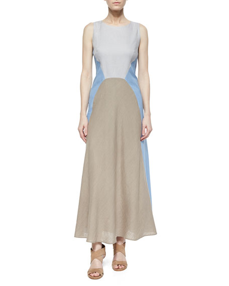 Lafayette 148 New York Solange Colorblock Linen Maxi Dress, Ice Water/Melange