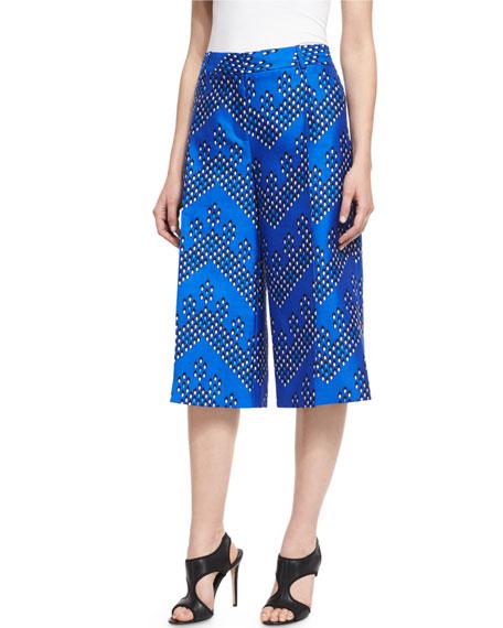 Stanton Chevron Dots Wool-Silk Mikado Culottes, Blue