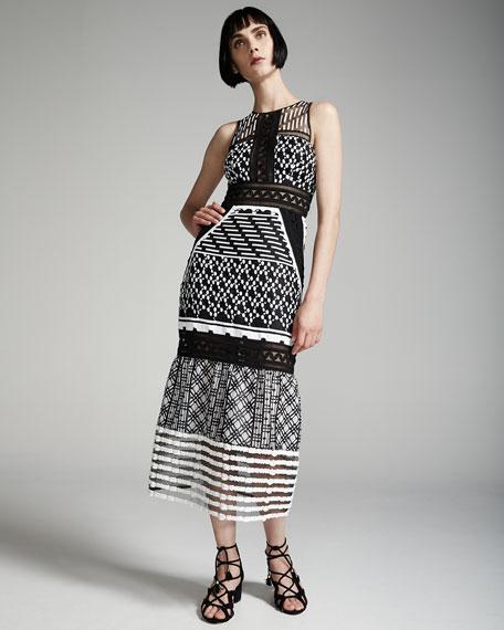 Sleeveless Mesh-Inset Midi Dress, Black/White