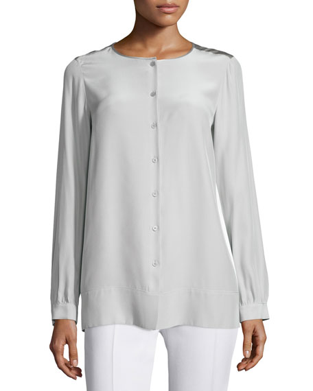 Lafayette 148 New York Rzaln Button-Front Blouse, Sterling