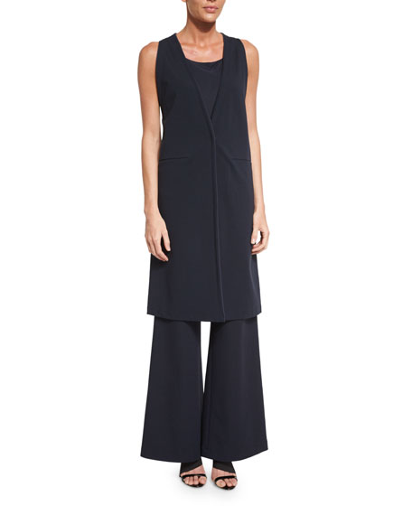 Lafayette 148 New York Deep V-Neck Long Vest,