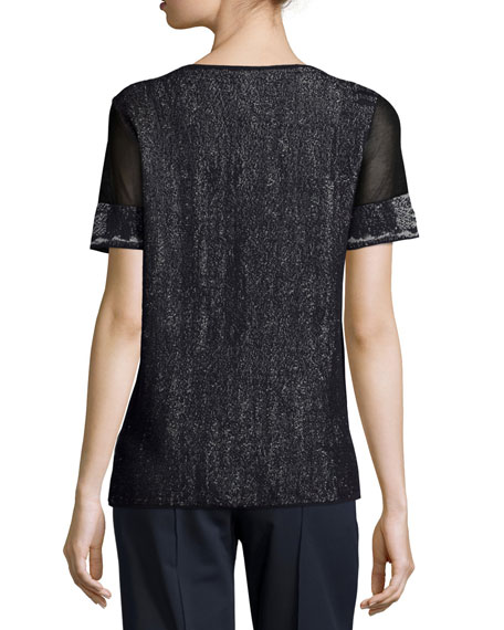 Short Mesh-Sleeve Brushed Jacquard Sweater, Ink Multi Buy