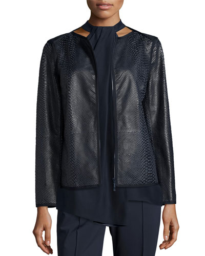 Keaton Embossed Leather Grosgrain-Trim Jacket, Shadow Multi