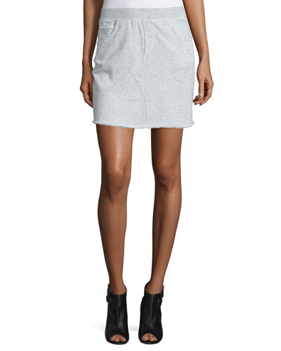 Cotton Terry Pencil Skirt, Gray Melange